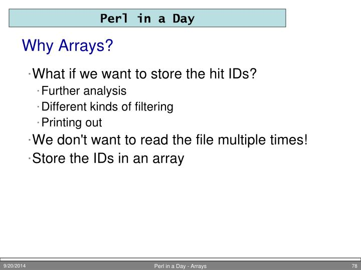 Why Arrays?