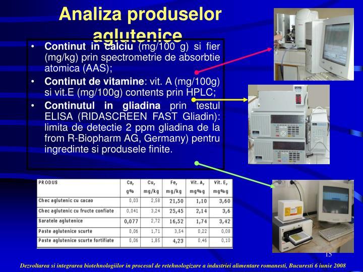 Analiza produselor aglutenice