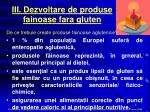 iii dezvoltare de produse fainoase fara gluten