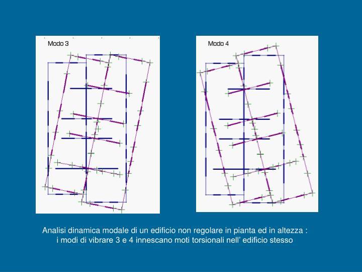 Analisi dinamica modale di un edificio non regolare in pianta ed in altezza :