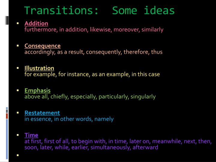 what are some good transitions for an essay