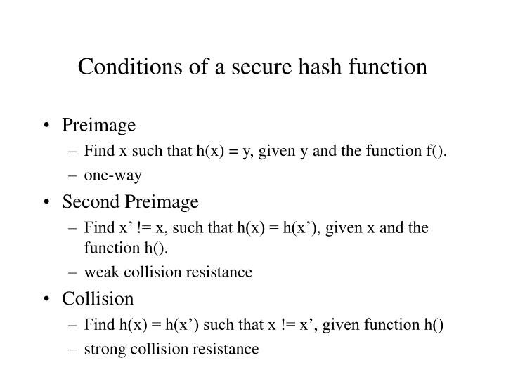 Conditions of a secure hash function