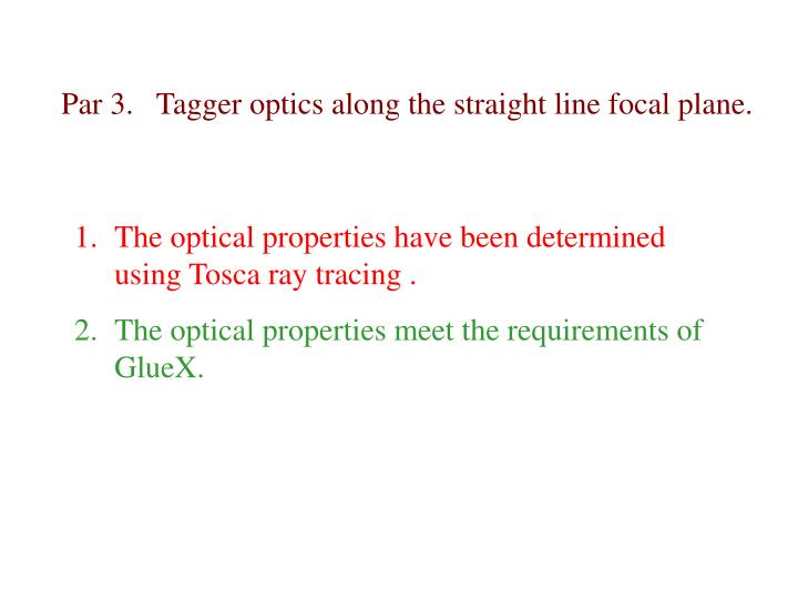 Par 3.   Tagger optics along the straight line focal plane.