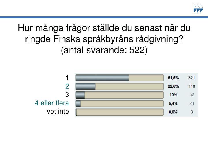 Hur många frågor ställde du senast när du ringde Finska språkbyråns rådgivning? (antal svarande: 522)