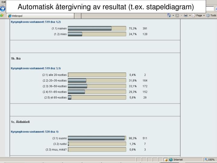Automatisk återgivning av resultat (t.ex. stapeldiagram)