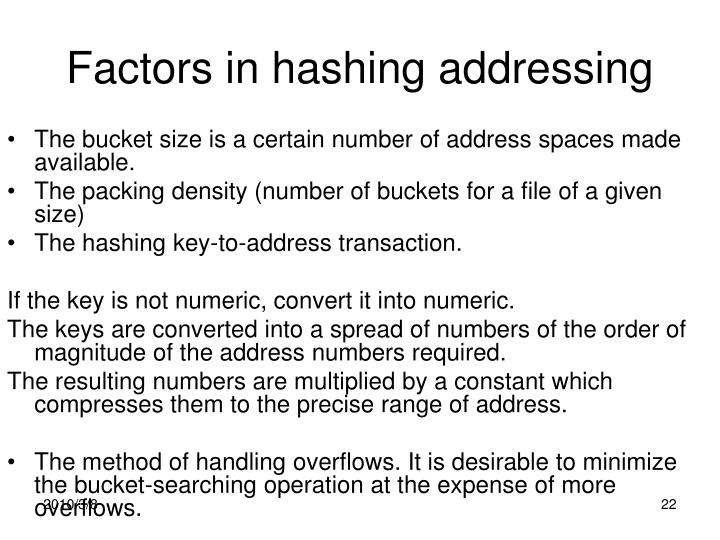 Factors in hashing addressing