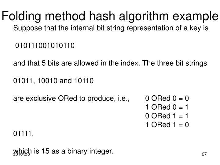 Folding method hash algorithm example