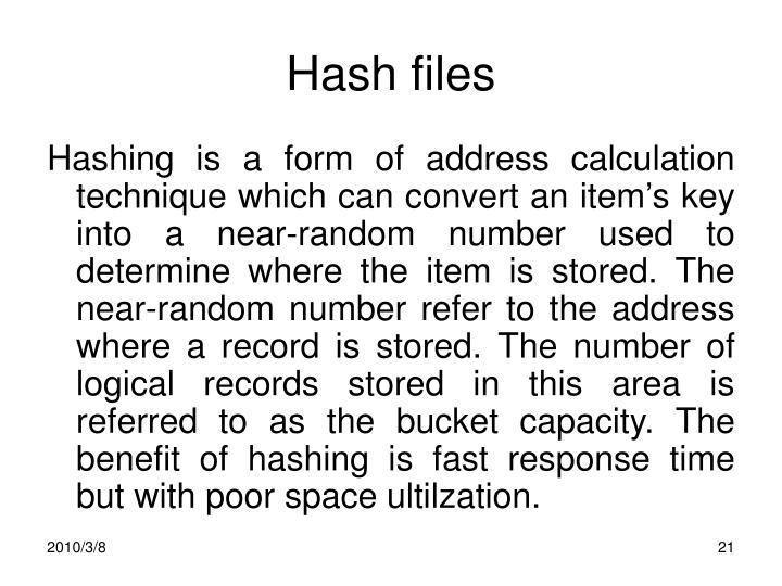 Hash files