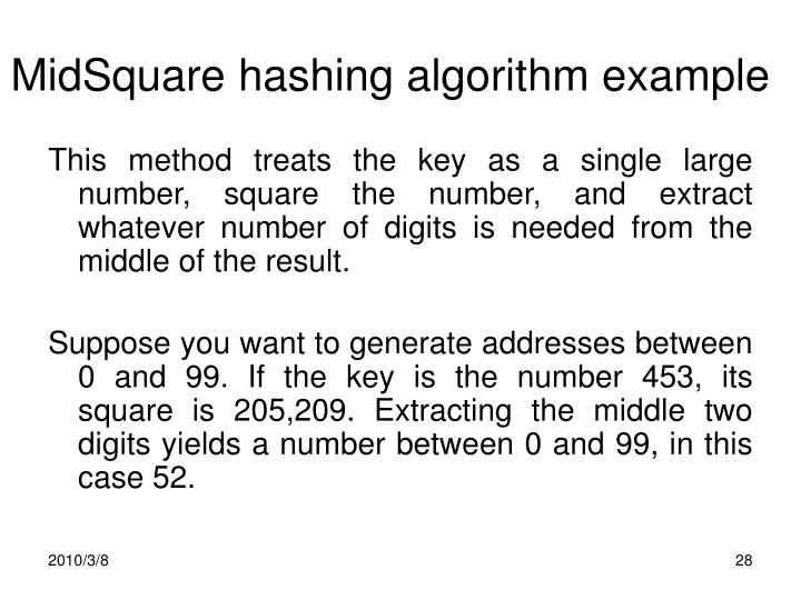 MidSquare hashing algorithm example