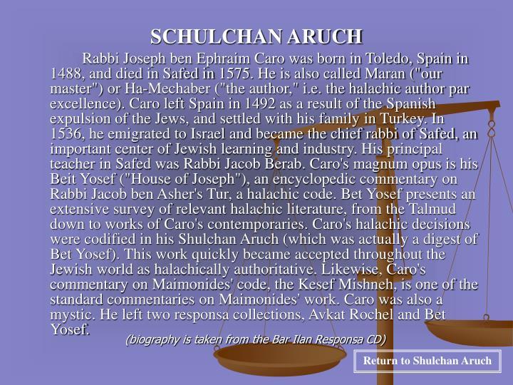 SCHULCHAN ARUCH