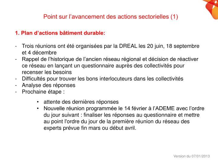Point sur l'avancement des actions sectorielles (1)