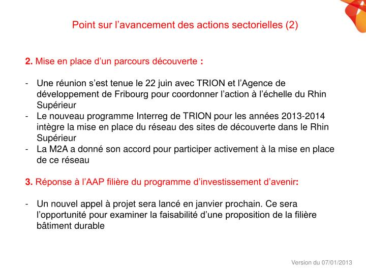 Point sur l'avancement des actions sectorielles (2)
