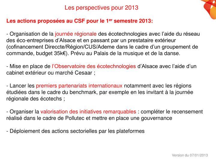 Les perspectives pour 2013