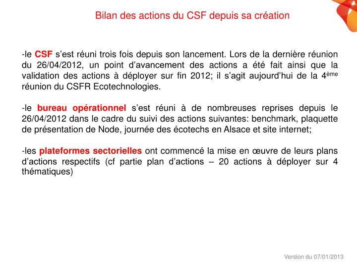 Bilan des actions du CSF depuis sa création