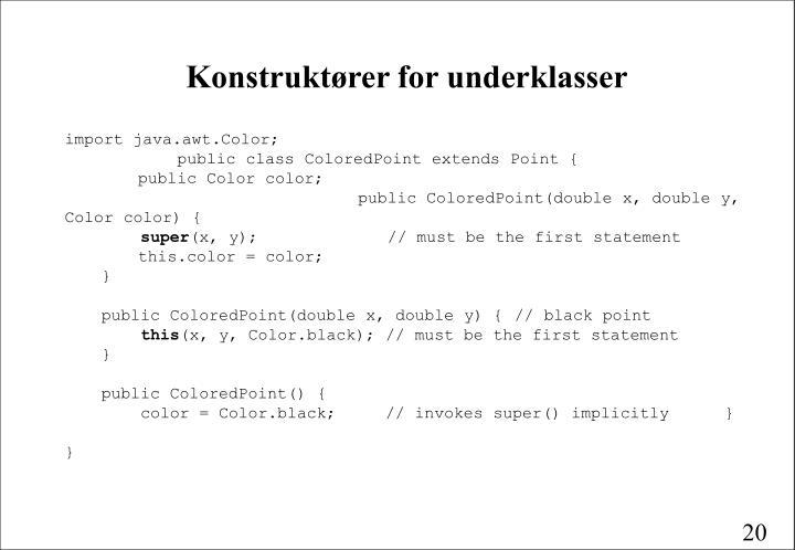 Konstruktører for underklasser