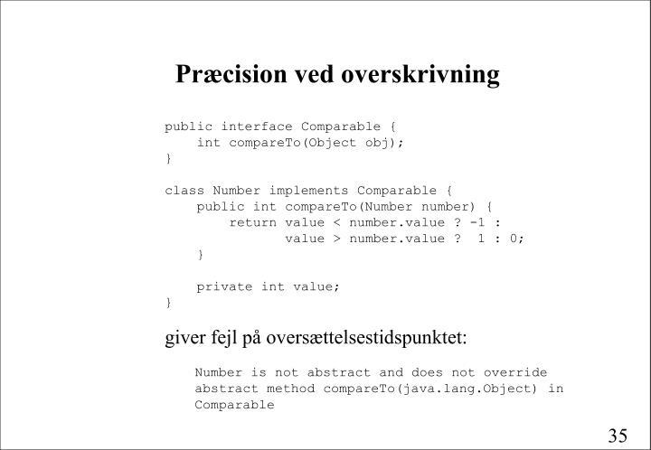 Præcision ved overskrivning