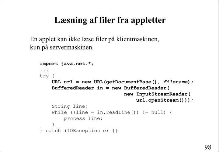 Læsning af filer fra appletter