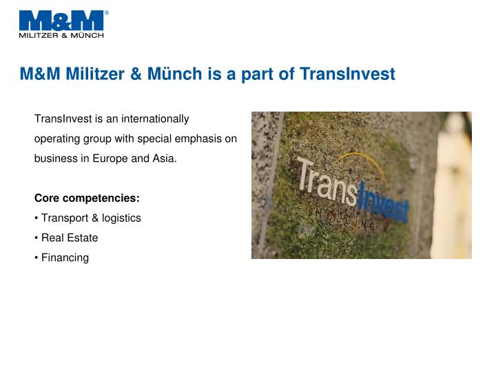 M m militzer m nch is a part of transinvest