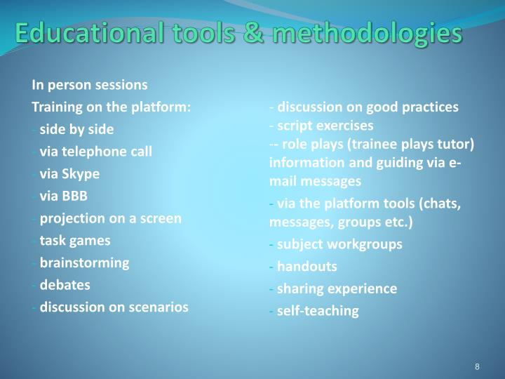 Educational tools & methodologies