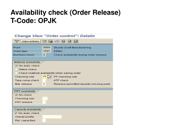 Availability check (Order Release)
