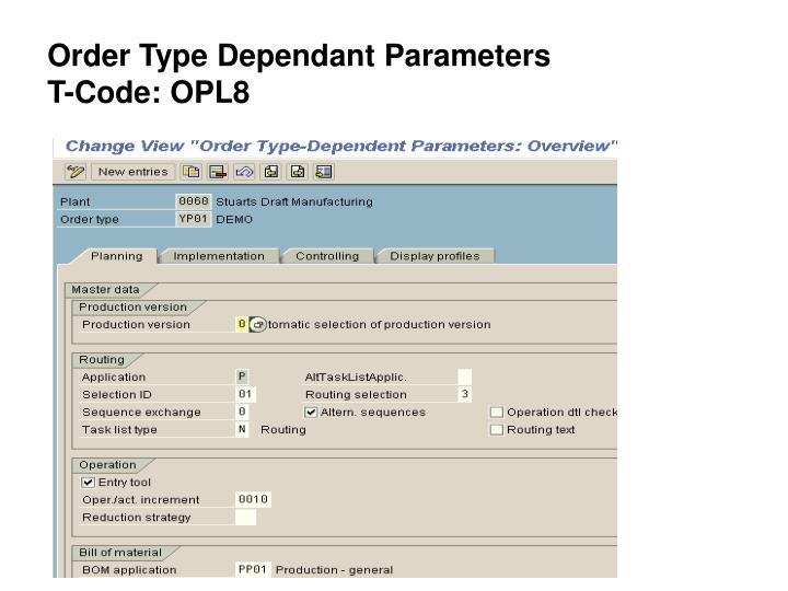 Order Type Dependant Parameters