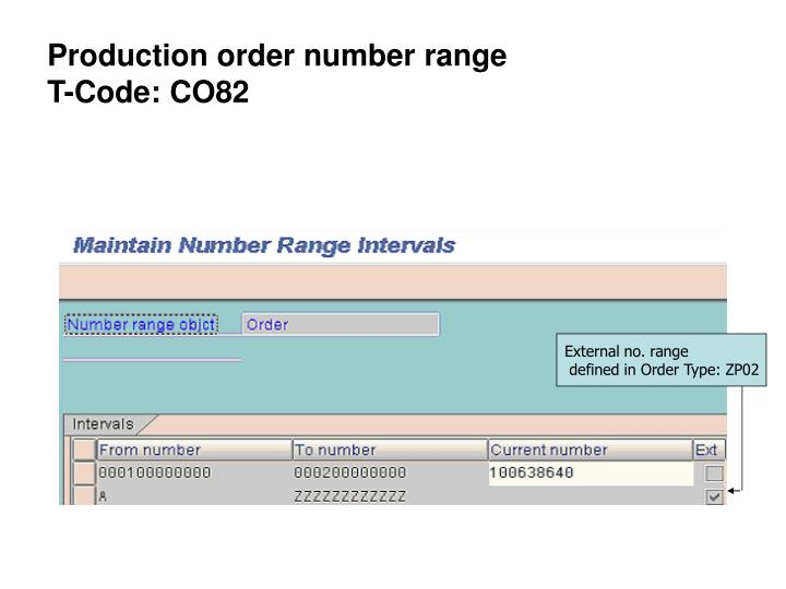 Production order number range