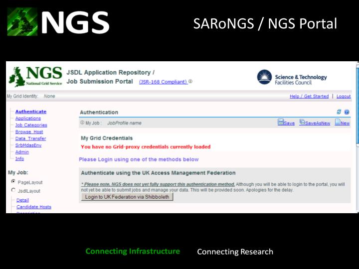 SARoNGS / NGS Portal