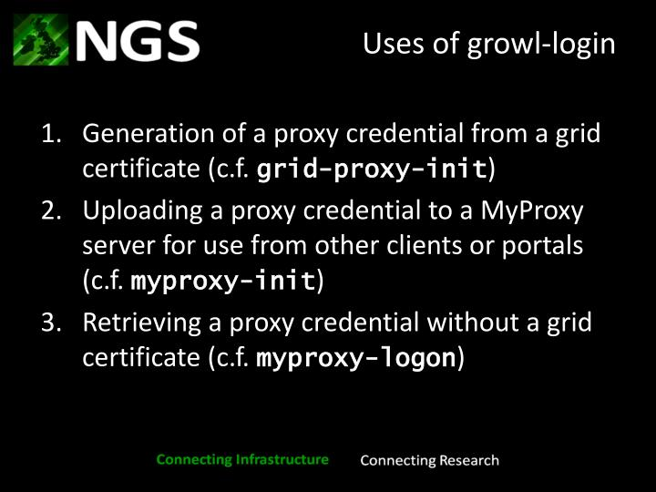 Uses of growl-login