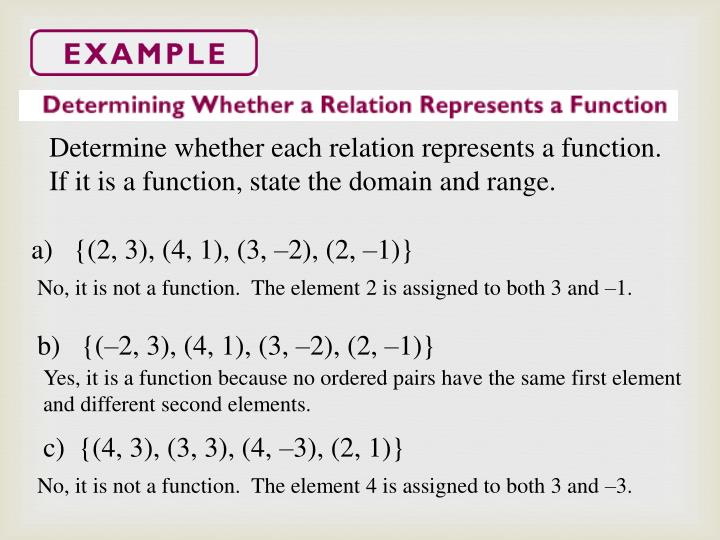 Determine whether each relation represents a function.  If it is a function, state the domain and range.