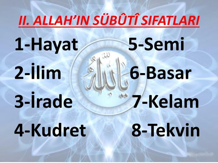 II. ALLAHIN SBT SIFATLARI