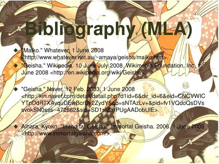 Bibliography (MLA)