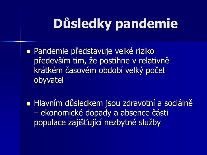 Důsledky pandemie