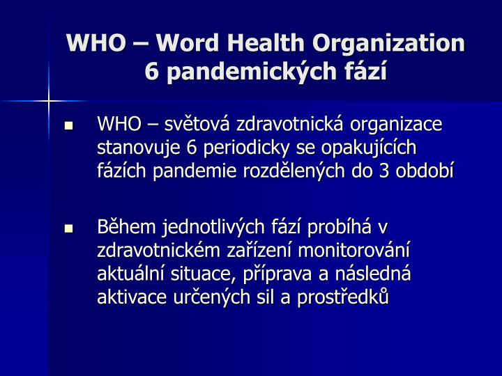 WHO – Word Health Organization