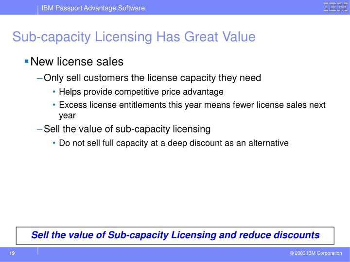 Sub-capacity Licensing Has Great Value