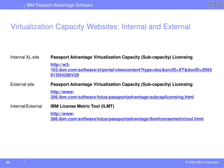 Virtualization Capacity Websites: Internal and External