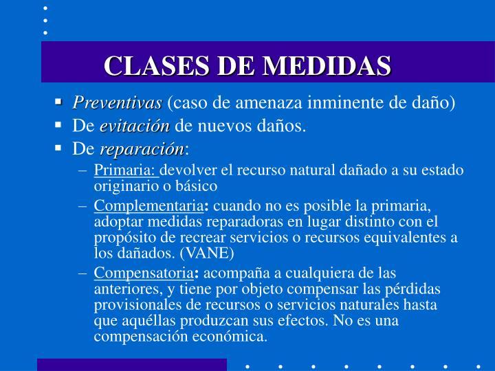 CLASES DE MEDIDAS