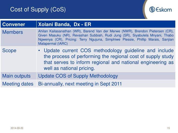 Cost of Supply (CoS)