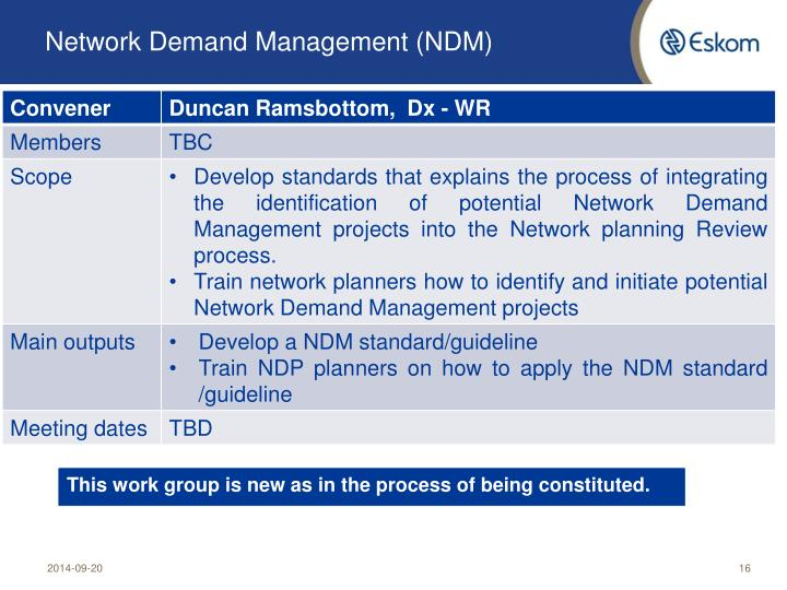 Network Demand Management (NDM)