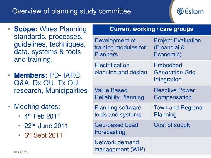 Overview of planning study committee