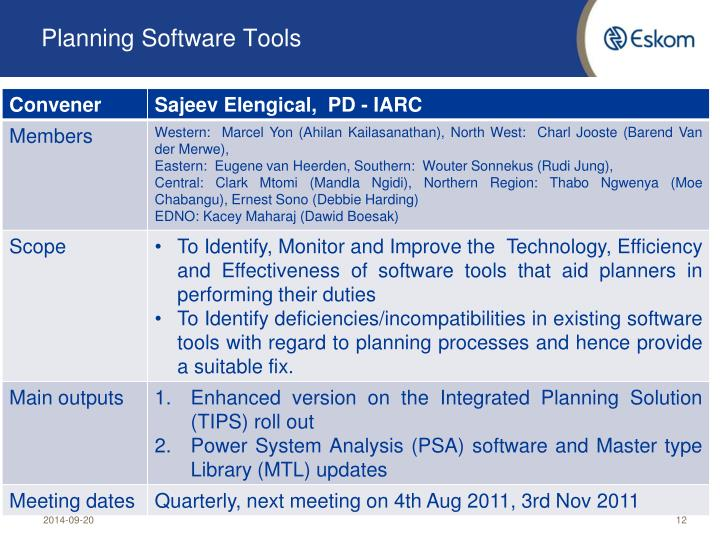 Planning Software Tools