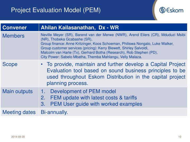 Project Evaluation Model (PEM)