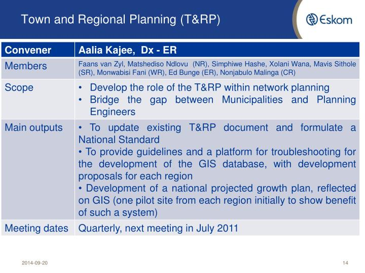 Town and Regional Planning (T&RP)