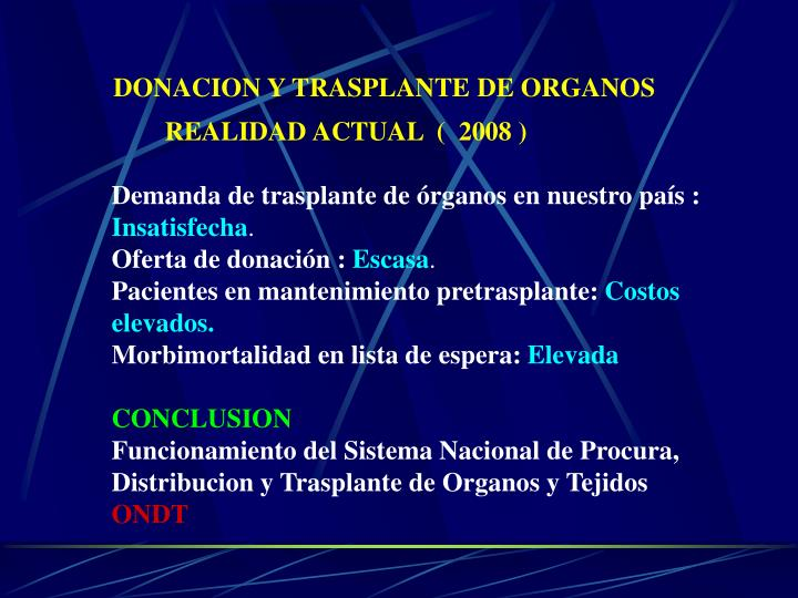 DONACION Y TRASPLANTE DE ORGANOS