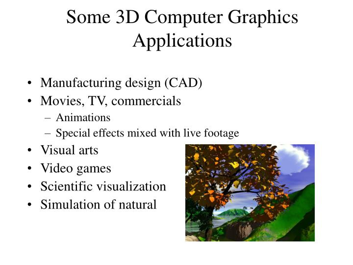 Some 3D Computer Graphics Applications