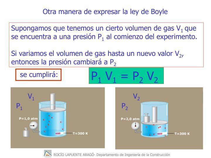Otra manera de expresar la ley de Boyle