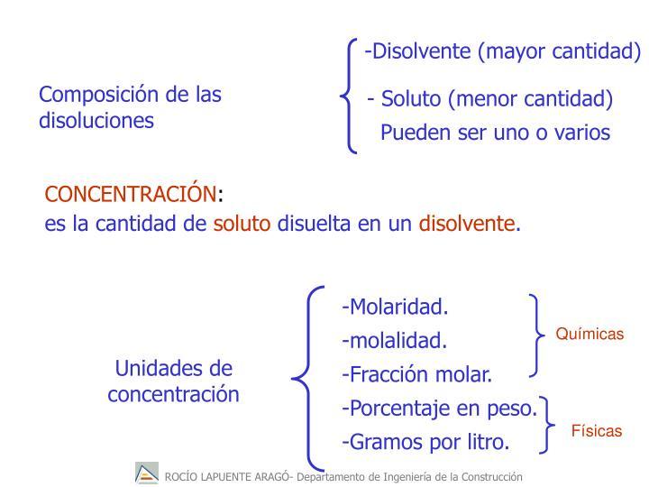 -Disolvente (mayor cantidad)