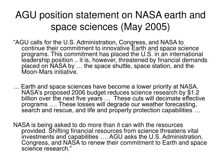 AGU position statement on NASA earth and space sciences (May 2005)