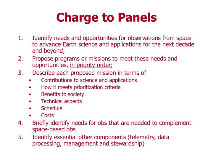 Charge to Panels
