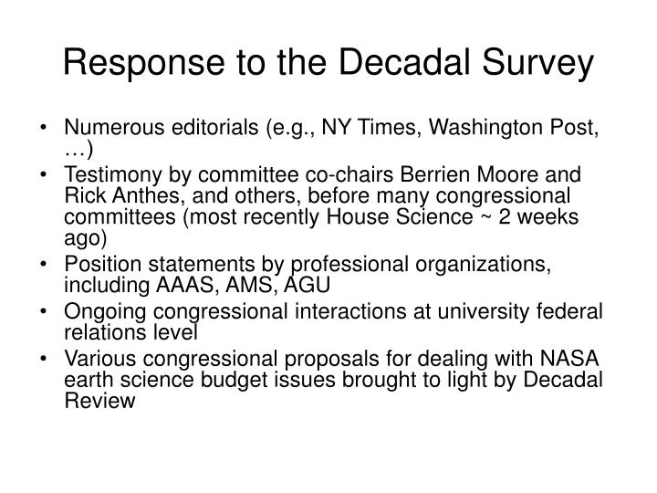 Response to the Decadal Survey