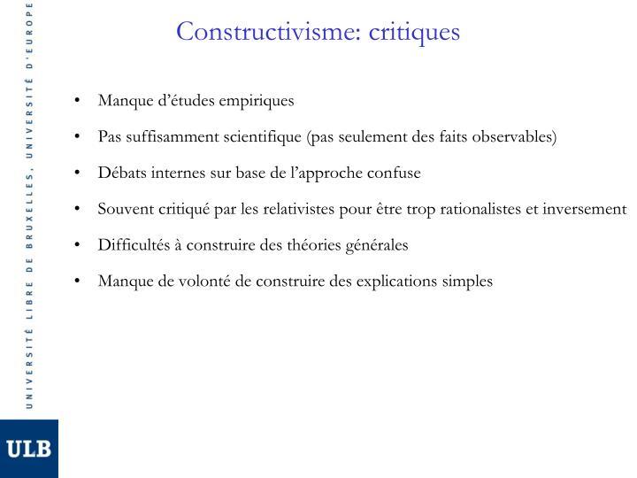 Constructivisme: critiques